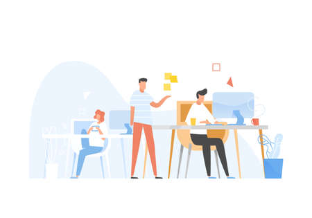 Programmers or coders working together. Front-end and back-end software development and testing, programming or program coding. Conversation between colleagues at work. Flat vector illustration