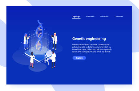 Web banner template with analysts, scientists or researchers analyzing DNA molecule on blue background. Genetic engineering, biotechnology and genome modification. Isometric vector illustration Standard-Bild - 124954609