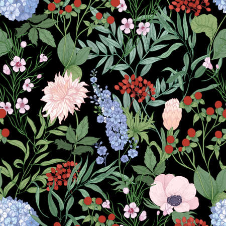 Natural seamless pattern with blooming wildflowers on black background. Botanical backdrop with wild flowers and flowering plants. Romantic realistic vector illustration in elegant antique style  イラスト・ベクター素材