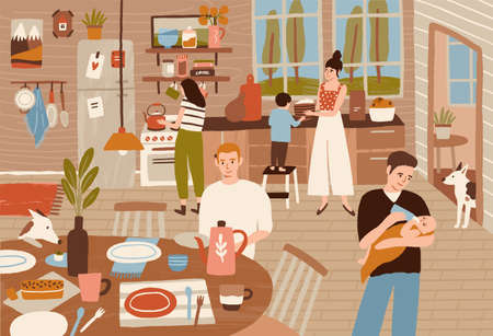 Happy family cooking in kitchen and serving dining table. Smiling adults and children preparing meals for dinner together. Cute home scene. Colorful vector illustration in flat cartoon style Standard-Bild - 124954611