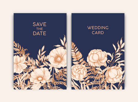 Bundle of floral templates for Save the Date card or wedding invitation decorated with blooming garden flowers hand drawn with contour lines on dark background. Realistic vector illustration