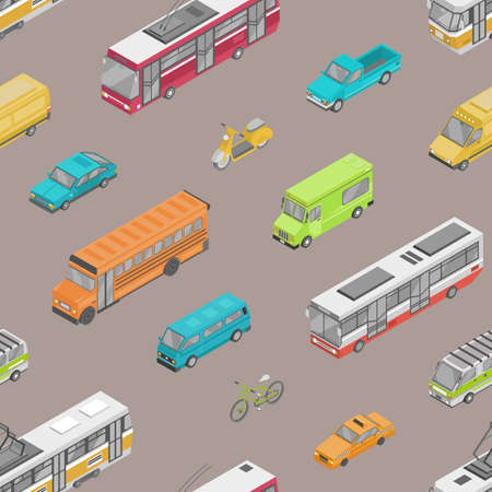 Seamless pattern with urban traffic or automobile transport on city street. Backdrop with motor vehicles of different types - car, scooter, bus, tram, minibus, pickup. Isometric vector illustration Standard-Bild - 124954615