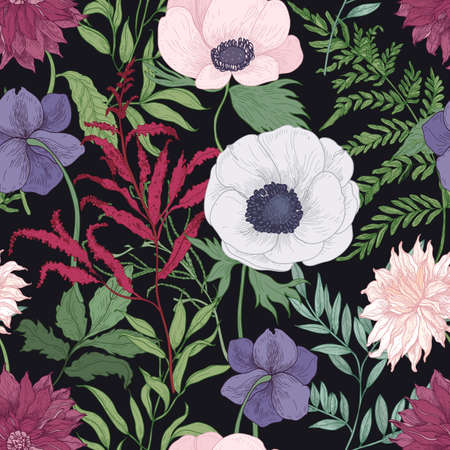 Botanical seamless pattern with blooming garden flowers on black background. Elegant floral backdrop with tender romantic flowering plants. Hand drawn realistic vector illustration in retro style Standard-Bild - 124954617