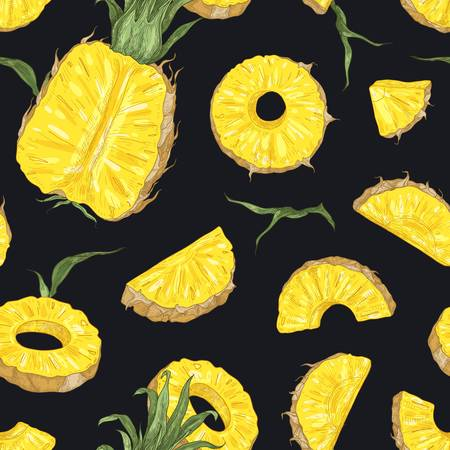 Natural seamless pattern with whole and cut fresh pineapples on black background. Backdrop with exotic juicy fruit. Realistic vector illustration in vintage style for wallpaper, wrapping paper