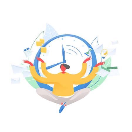 Mann sitzt im Schneidersitz und meditiert gegen Zifferblatt, Zeitplan, Sanduhr, Kalender im Hintergrund. Zeitmanagement, Arbeitsplanung und -organisation, Multitasking. Flache Vektorillustration