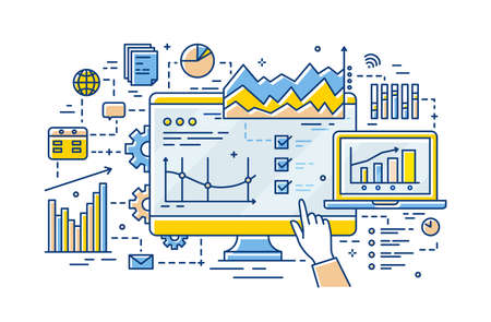Hand of analyst pointing at computer display with results of statistical data analysis on it, diagrams, charts and graphs. Business analytics and statistics. Vector illustration in linear style  イラスト・ベクター素材