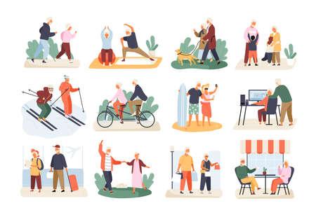 Bundel van leuke grappige actieve bejaarde paren die op witte achtergrond worden geïsoleerd. Verzameling van recreatieve en gezonde sportactiviteiten voor oma en opa. Platte cartoon vectorillustratie.