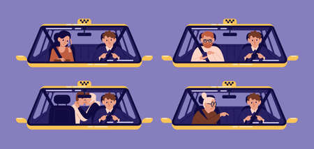 Collection of taxi customers or clients and driver in cab seen through windshield. Bundle of people using automobile service. Set of cute cartoon characters. Flat colorful vector illustration