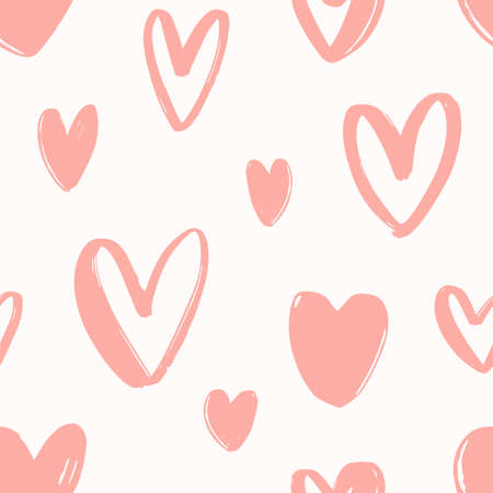 Seamless pattern with hand drawn pink hearts on white background. Decorative backdrop with love, passion and romance symbols. Valentine's day vector illustration for wallpaper, fabric print Standard-Bild - 124954630