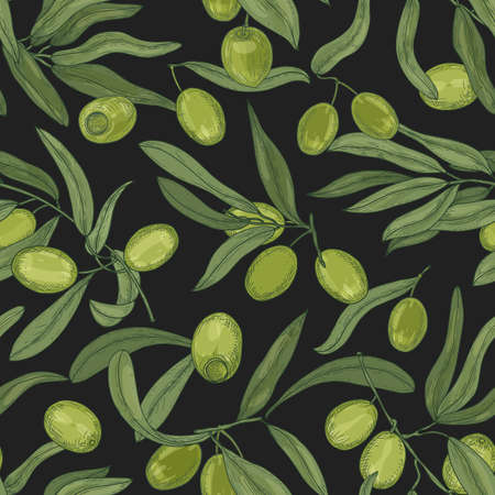 Botanical seamless pattern with olive tree branches, leaves, green fresh fruits or drupes on black background. Elegant hand drawn vector illustration in vintage style for textile print, wallpaper