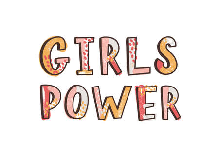 Girls Power inspirational phrase, slogan, quote or message handwritten with funky calligraphic font. Creative hand lettering. Decorative vector illustration for t-shirt, apparel or sweatshirt print Standard-Bild - 124954632