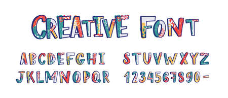Creative latin font or english alphabet hand drawn on white background. Textured letters arranged in alphabetical order and figures or digits decorated with dots and smears. Vector illustration Standard-Bild - 124954634