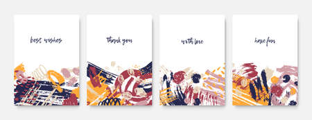 Collection of postcard templates with inspiring phrases or messages and abstract chaotic rough brushstrokes, scribble, paint traces. Colorful trendy vector illustration in modern grunge style