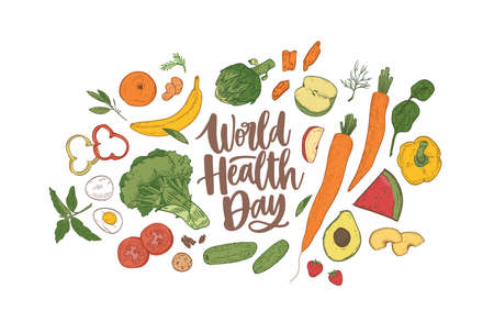 World Health Day celebratory banner with elegant lettering surrounded by whole nutrient foods, raw fresh organic fruits, vegetables and berries. Healthy nutrition. Realistic vector illustration Standard-Bild - 124954639