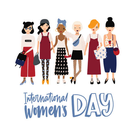 International Womens Day banner or postcard template with happy young hipster girls or feminist activists standing together. Trendy vector illustration for 8 March celebration in cool flat style
