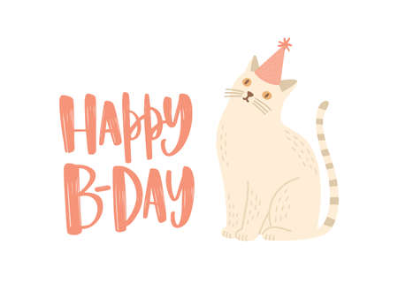 Festive greeting card or postcard template with Happy B-Day wish written with stylish calligraphic font and cute cat in cone hat. Creative decorative vector illustration for birthday celebration Standard-Bild - 124954644