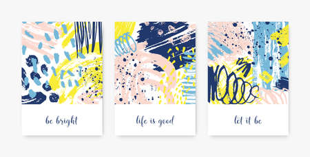 Bundle of decorative card templates with motivational phrases or messages and abstract stains, blots, brushstrokes, scribble, paint traces. Stylish vector illustration in contemporary art style