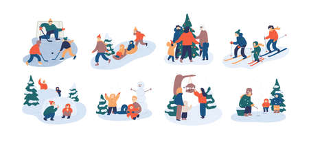 Set of family winter leisure activities. Mother, father and child having fun outdoors together - playing ice hockey, feeding birds, fishing, throwing snowballs. Flat cartoon vector illustration