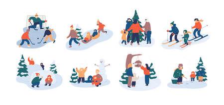 Zestaw rodzinnych zimowych zajęć rekreacyjnych. Matka, ojciec i dziecko wspólnie bawią się na świeżym powietrzu - grając w hokeja, karmiąc ptaki, łowiąc ryby, rzucając śnieżkami. Ilustracja wektorowa płaski kreskówka Ilustracje wektorowe