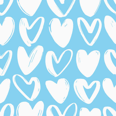 Seamless pattern with hearts hand drawn with rough white contour lines on blue background. Valentines day backdrop with love, romance and passion symbols. Vector illustration for wrapping paper