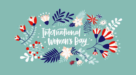 Floral greeting card on blue background with International Women's Day lettering handwritten with cursive font by blooming spring flowers and leaves. Flat festive vector illustration for 8 march Standard-Bild - 124954655
