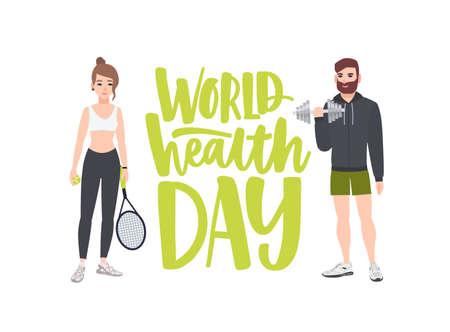 Banner de celebración del Día Mundial de la Salud con personas que realizan ejercicio físico, entrenamiento físico, deportes, culturista masculino con mancuernas y tenista. Ilustración de vector de dibujos animados plana Ilustración de vector