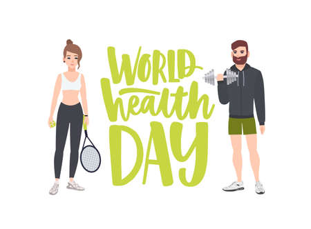 World Health Day celebratory banner with people performing physical exercise, fitness workout, sports, male bodybuilder with dumbbell and female tennis player. Flat cartoon vector illustration