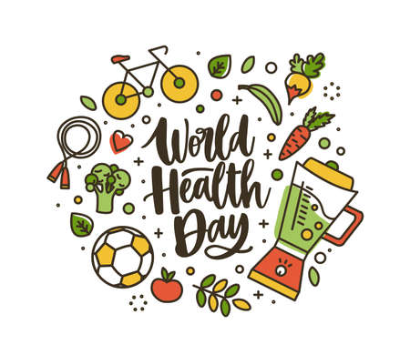 World Health Day lettering handwritten by cursive font and surrounded by whole nutrient foods and sports equipment. Healthy nutrition and active lifestyle. Vector illustration in linear style