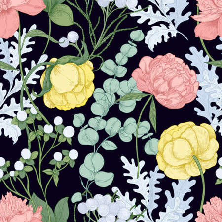 Floral seamless pattern with blooming peonies, ranunculus, eucalyptus gunnii on black background. Elegant backdrop with gorgeous flowers. Realistic hand drawn vector illustration in vintage style