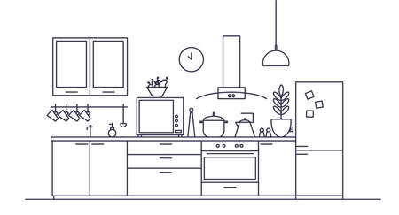 Stylish interior of kitchen full of modern furniture, household appliances, cooking facilities and home decorations drawn with contour lines on white background. Vector illustration in linear style