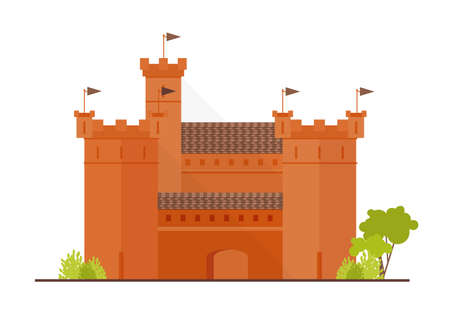 Medieval fortress, citadel or stronghold with bulwark, towers and bastions isolated on white background. Historical building of beautiful architecture. Flat cartoon colorful vector illustration. Illustration