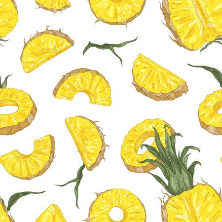 Botanical seamless pattern with ripe pineapple pieces and slices on black background. Backdrop with cut sweet tropical fruit. Elegant realistic vector illustration in antique style for textile print Stock Illustratie