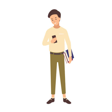 Smiling teenage school boy with short hair holding textbooks and smartphone. Portrait of male university or college student isolated on white background. Colorful vector illustration in flat style