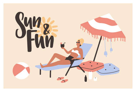 Postcard template with woman lying on sunlounger, sunbathing and drinking cocktail and Sun And Fun slogan written with cursive calligraphic font. Summer vacation. Seasonal flat vector illustration Illustration