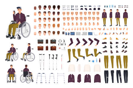 Teenage boy with physical disability creation set or constructor kit. Collection of disabled man body parts, gestures, clothing isolated on white background. Flat cartoon vector illustration