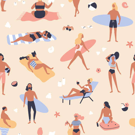 Seamless pattern with people lying on beach and sunbathing, reading books, surfers carrying surfboards. Backdrop with men and women relaxing at summer resort. Vector illustration for fabric print