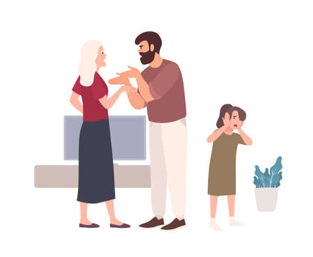 Parents brawling and quarreling in presence of daughter. Husband shouting at wife or offending her. Problem or conflict in family. Domestic abuse, unhappy marriage. Flat cartoon vector illustration