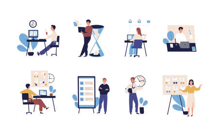 Collection of people successfully organizing their tasks and appointments. Set of scenes with efficient and effective time management and multitasking at work. Flat cartoon vector illustration