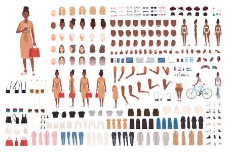 Afroamerikanisches Hipster-Mädchen-Animationsset, Generator oder DIY-Kit. Bündel von Körperteilen, trendige Freizeitkleidung, Körperhaltungen. Weibliche Zeichentrickfigur. Vorder-, Seiten-, Rückansichten. Vektor-Illustration