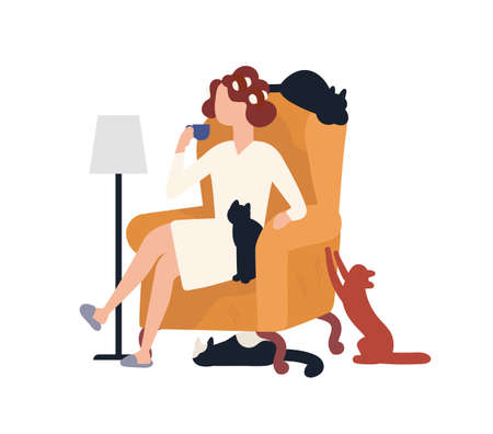 Crazy cat lady sitting in armchair surrounded by her pets and drinking coffee. Portrait of woman with her domestic animals. Cartoon characters isolated on white background. Flat vector illustration