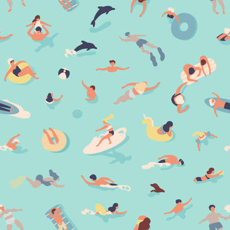 Summer seamless pattern with people swimming, diving, surfing, lying on floating air mattress, playing with ball in sea or ocean. Flat cartoon vector illustration for textile print, wrapping paper Ilustração