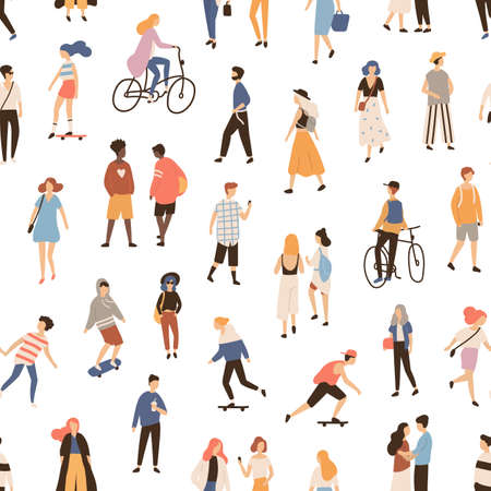 Seamless pattern with people walking on street, riding bike or skateboard. Backdrop with men, women and children performing outdoor activities. Flat cartoon vector illustration for textile print