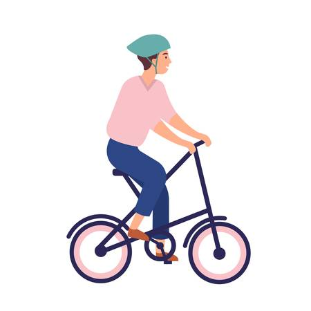 Smiling man in helmet riding portable bike. Happy funny cycling sportsman isolated on white background. Joyful male bicyclist on folding bicycle. Colorful vector illustration in flat cartoon style