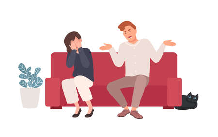 Spouses or romantic partners sitting on sofa and quarreling. Husband shouting at wife, offending her while she is crying. Family or domestic abuse, unhappy marriage. Flat cartoon vector illustration