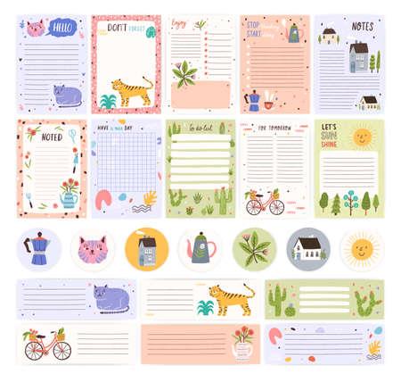 Colección de páginas o pegatinas del planificador semanal o diario, hoja para notas y plantillas de listas de tareas decoradas con lindos dibujos animados de animales y plantas. Programador u organizador moderno. Ilustración de vector plano.