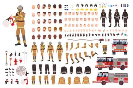 Brandweerman creatie set of doe-het-zelf kit. Bundel van brandweerman lichaamsdelen, gezichtsuitdrukkingen, beschermende kleding, uitrusting, brandweerwagen geïsoleerd op een witte achtergrond. Platte cartoon vectorillustratie.