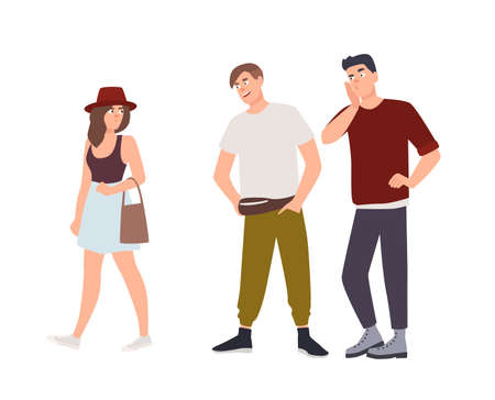 Groupe d'hommes sifflant et regardant la jeune femme dans la rue. Incident de harcèlement, d'agression et d'abus sexuel. Comportement abusif ou agression. Agresseurs et victime. Illustration vectorielle de dessin animé plat.