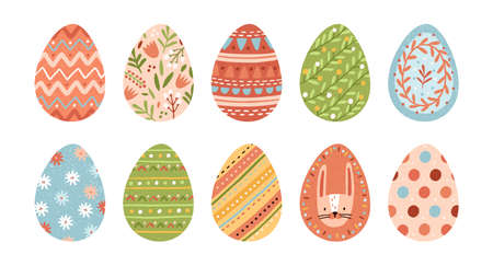 Bundle of decorated Easter eggs isolated on white background. Set of Paschal symbols covered with various ornaments - plants, stripes, dots. Flat vector illustration for religious holiday celebration