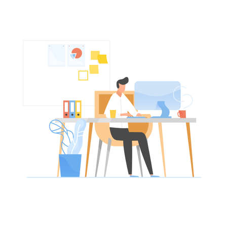 Programmer or coder sitting at desk and working on computer. Work in software development and testing, programming or program coding. Office worker or employee. Modern flat vector illustration