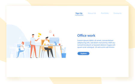 Web banner template with programmers or coders working together at office. Software development, programming or program coding. Colleagues at work. Modern flat vector illustration for website Stock Illustratie